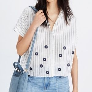 Madewell Hilltop shirt with flower embroidery